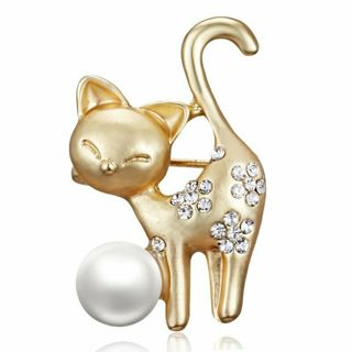 Lovely Pearl Crystal Cat Animal Brooch Pin