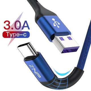 ZNP USB Type C Cable For Samsung S10 Huawei P30 Pro Fast Charge Type-C Mobile Phone Charging Wire