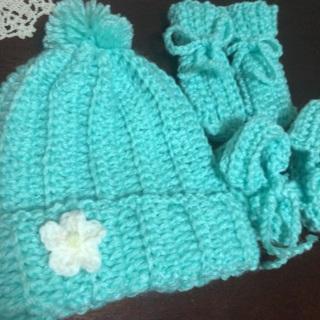 Hand Crochet Newborn Baby Gift Set .