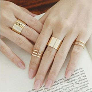 Women Rings Set New 3Pcs/Set Gold Silver Plated Shiny Fashion Band Midi Finger Knuckle