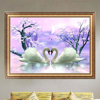 DIY 5D Diamond Painting Two Swans Embroidery Cross Stitch Home Decor Crafts