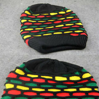 women Men knit Baggy Beanie Rasta Hat Winter Multi-Color skullcaps