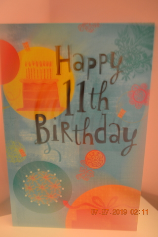 ****BIRTHDAY CARD FOR A 11th YEAR OLD W/ENVELOPE***FREE SHIPPING