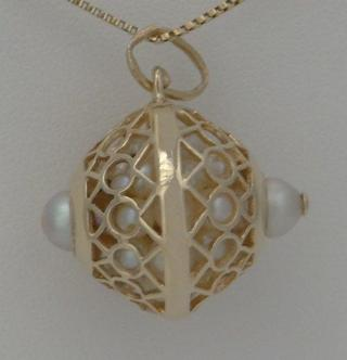 14k Yellow Gold Basket full of pearls Charm 8.5g
