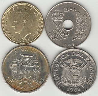 4 WORLD COINS FOR 1 BID! YOU GET ALL & FREE SHIP IN ZIP BAG! SEE PHOTOS!>