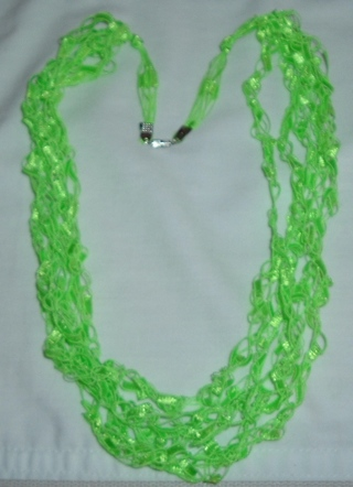 New Handmade Crocheted Necklace Lime Green