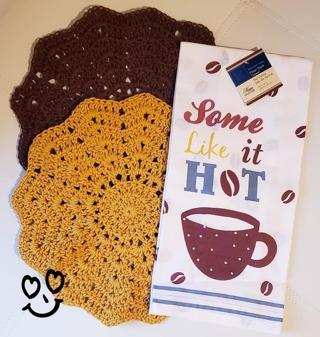 "Crochet 2 - 9"" Dish Cloth/Wash Cloths/1 Dish Towel"