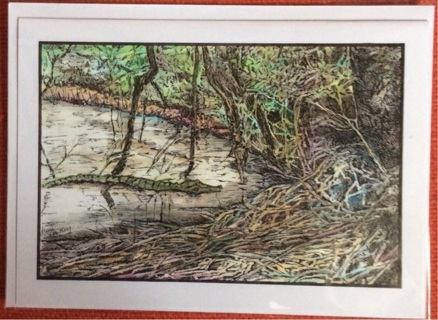 "ALLIGATOR BAYOU - 5 x 7"" art card by artist Nina Struthers - GIN ONLY"
