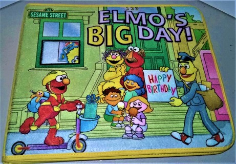 2005 Sesame Street ELMO'S BID DAY fabric-covered book with 26 fabric cut-outs