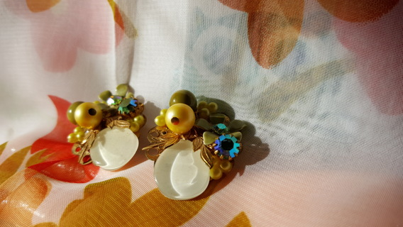 ANTIQUE FAUX MOTHER OF PEARL AND MORE EARRINGS