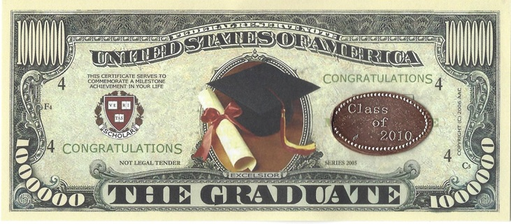 CONGRATULATIONS Graduate Class Of 2010 Novelty $1 Million Collector note/Graduate Coin.