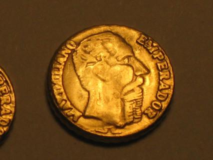 1865 Maximillian Gold Peso GEM BU Mini Gold Layered Coin