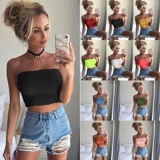 Women Off Shoulder Boob Elastic Tube Tops Bra Blouse Strapless Bandeau Crop Tops