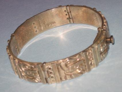vintage sterling hinged panel bracelet
