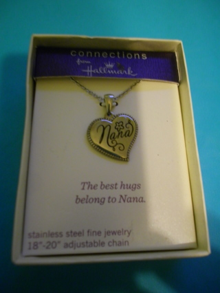 """New """"Nana"""" Heart Necklace Stainless Steel 18""""-20"""" adjustable Chain by Hallmark"""