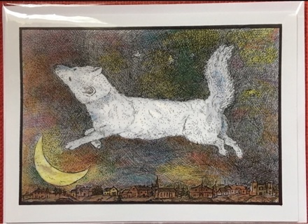 "MOON DOG - 5 x 7"" art card by artist Nina Struthers - GIN ONLY"
