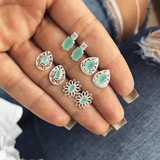 4 Pair/set Women Fashion Retro Hollow Flower Gem Crystal Cute Animal Stud Earrings Bohemian Gift