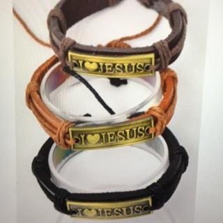 6 Pack Jesus Leather Bracelet w
