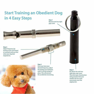 Canine Training Whistle Ultrasonic Sound Adjustable Pitch Training Bark Control Trainer Metal Silver