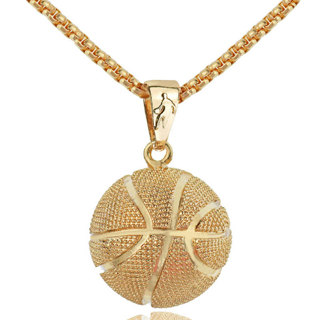 Basketball Pendant Necklace Gold Stainless Steel Chain Necklace Women Men Sport Hip Hop Jewelry Bask