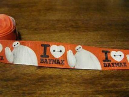 "I love Baymax Red 7/8"" grosgrain ribbon 1 yard NEW"