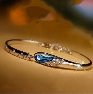 New Fashion Women Lady Silver Plated Crystal Bangle Charm Cuff Bracelet Jewelry