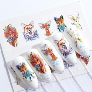 1pcs Flamingo Nail Art Sticker Water Decal Slider Cat Giraffe Rabbit Animals Transfer Manicure Nai