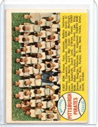 1958 Topps Pirates Team Card #341