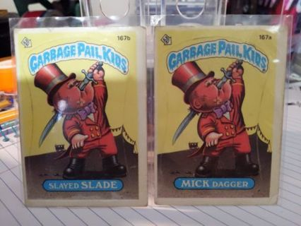 Original 1986 Topps Garbage Pail Kids Slayed Slade & Mick Dagger cards