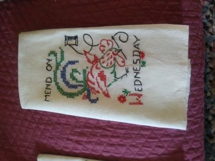 Hand embroidered flour sack kitchen towel