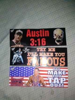 3 bumper sticker lot of wwe wwf superstars stone cold steve austin undertaker
