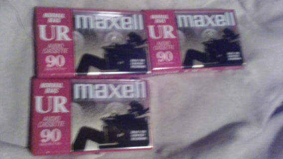 Lot of 3 Blank Audio Cassette Tapes Maxell UR 90 minute
