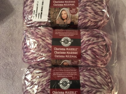 3 Skeins of Loops and Threads Charisma Marble yarn - direct from Michael's