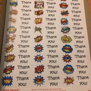 Comic bubble thank you labels