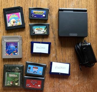 Vintage Nintendo Game Boy Advance SP with Cord & 9 Games Pokemon Sapphire, etc