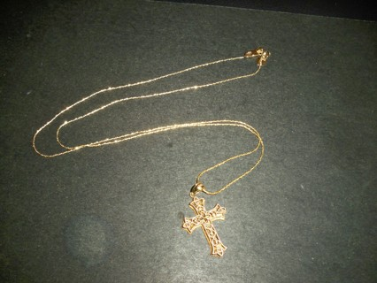 14K YG TWISTED SERPENTINE ADJUSTABLE CHAIN BY LESLIE'S JEWELRY W/REVERSIBLE 14K CROSS
