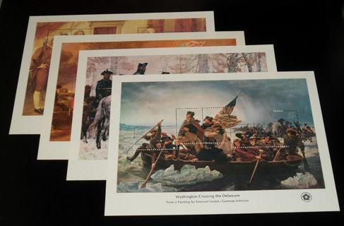 #1686-89 1976 AMERICAN BICENTENNIAL SOUVENIR SHEETS MINT-OG/NH w/envelope