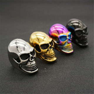 [GIN FOR FREE SHIPPING] Stainless Steel Punk Gothic Biker Skull Men Motorcycle Ring