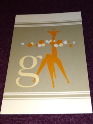Alphabet Greeting Card - Giraffe (g)