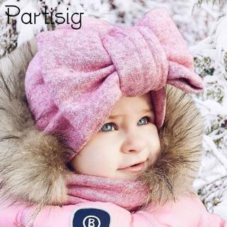 Baby Cap Cotton Big Bow Hat For Baby Girls 2 Layer Butterfly India Hat Kids Caps Winter Children's
