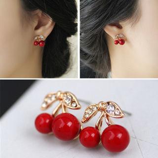 Hot Red Cherry Rhinestone Crystal Studs Earrings Women Gold Plated Jewelry YJCA