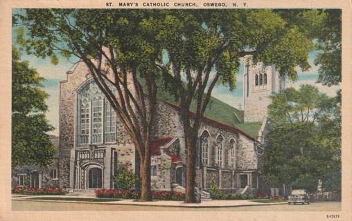 Vintage Used Postcard: 1951 St Mary's Catholic Church, Oswego, NY