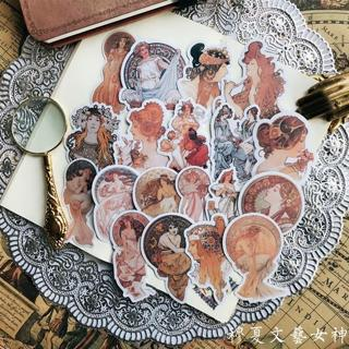 19pcs Vintage European style character The goddess of Art Decorative Stickers DIY Scrapbooking Dia