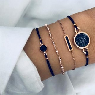 4 Pcs/set Bohemian Marble Stone Bracelets Set Vintage Boho Black Charm Bracelet for Women Jewelry