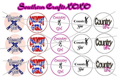 """Country Girl 1"""" Bottle Cap Image ***(EMAILED)***"""
