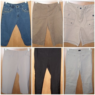 Winner's choice from 6 pants, capris, bermudas, trousers sizes 4,5,6