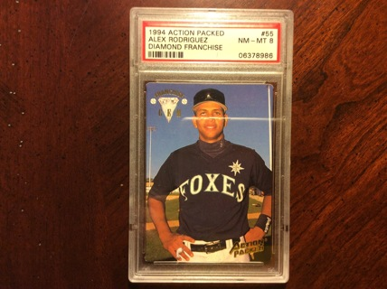 GRADED ALEX RODRIGUEZ ROOKIE 1994 Action Packed Baseball Card SEATTLE MARINERS RC PSA 8 NM-MT