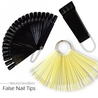 1Set False Nail Art Nature Black Transparent Fan Finger Full Nail Tips Display Practice UV Gel Pol