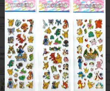 POKEMON Value Pack NEW JAPANESE Pop Up BUBBLE Stickers Vibrant Detailed FREE SHIPPING