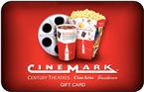 20 CineMark Gift Card Century Theaters CineArts Tinseltown Movie